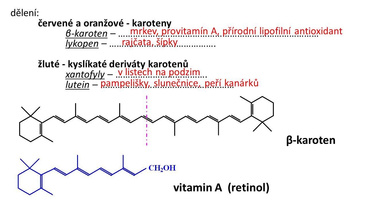 β-karoten vitamin A (retinol) dělení: červené a oranžové - karoteny