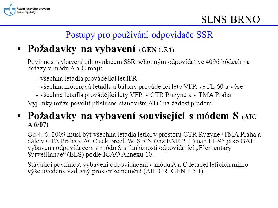 Postupy pro používání odpovídače SSR
