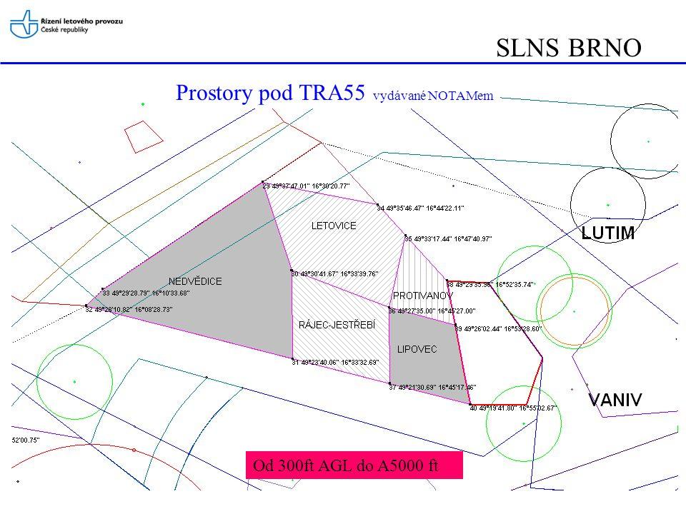 Prostory pod TRA55 vydávané NOTAMem