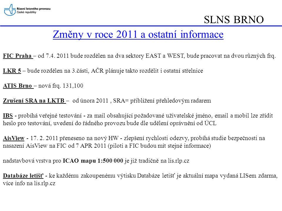 Změny v roce 2011 a ostatní informace