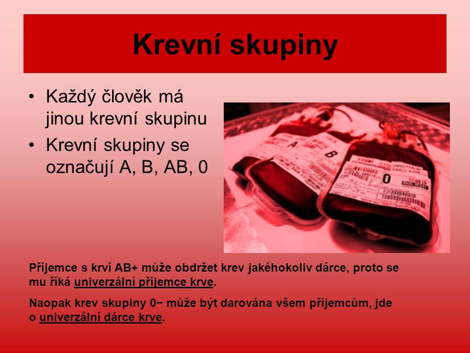 Krevní skupiny Každý člověk má jinou krevní skupinu
