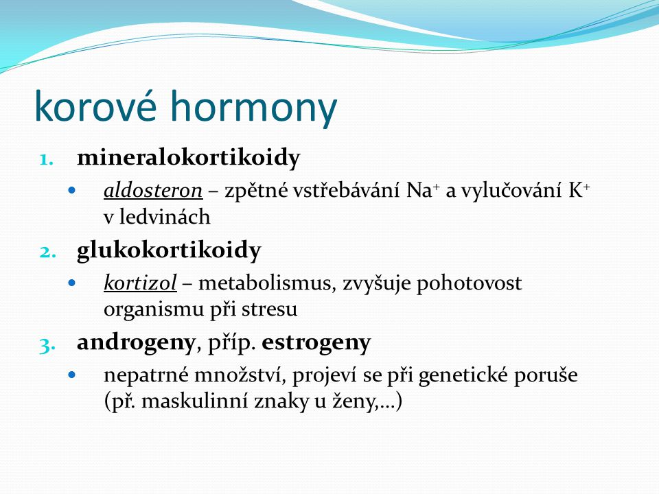 korové hormony mineralokortikoidy glukokortikoidy