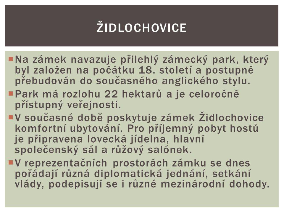 Židlochovice Na zámek navazuje přilehlý zámecký park, který byl založen na počátku 18. století a postupně přebudován do současného anglického stylu.