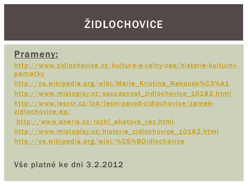 Židlochovice Prameny: Vše platné ke dni 3.2.2012