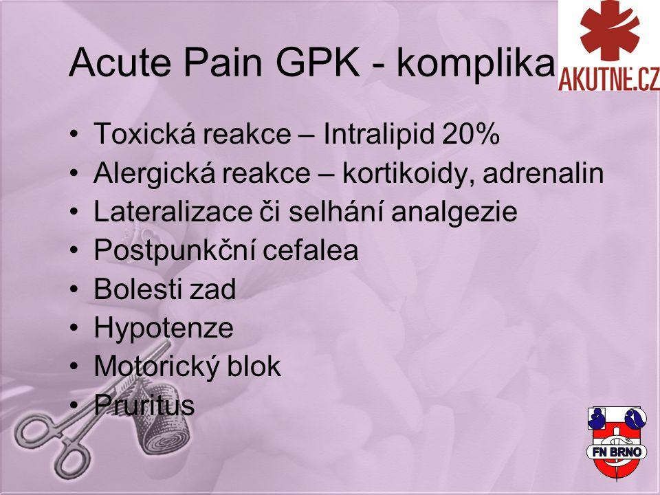 Acute Pain GPK - komplikace