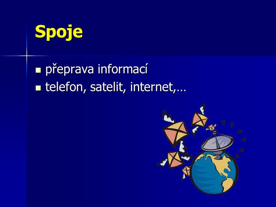 Spoje přeprava informací telefon, satelit, internet,…