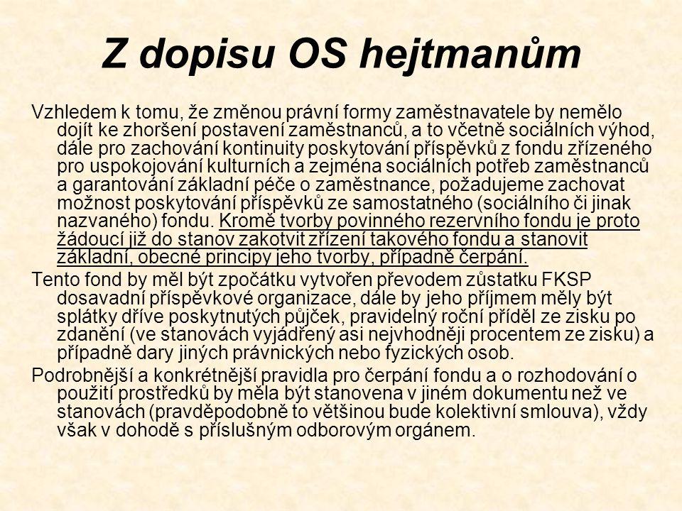 Z dopisu OS hejtmanům