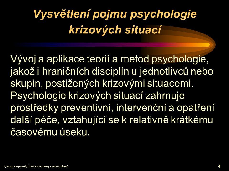 Vysvětlení pojmu psychologie krizových situací