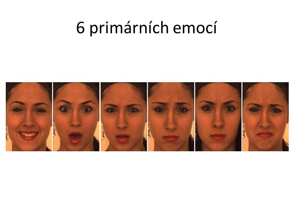 6 primárních emocí Šťastná, překvapená, vystrašená, smutná, rozhněvaná, znechucená