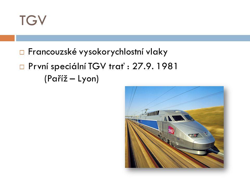 TGV Francouzské vysokorychlostní vlaky