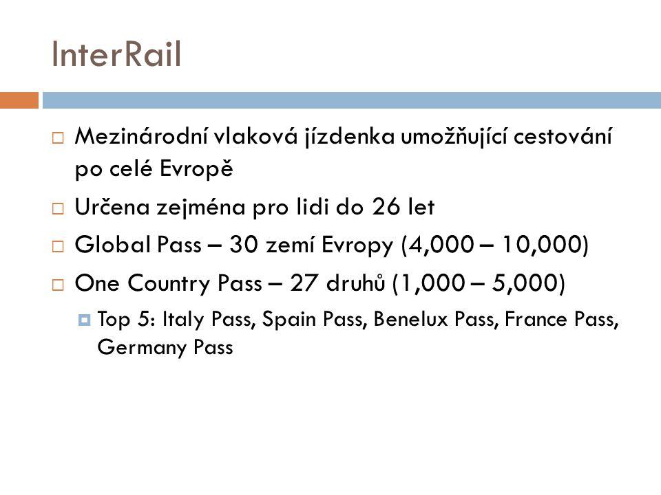 InterRail Mezinárodní vlaková jízdenka umožňující cestování po celé Evropě. Určena zejména pro lidi do 26 let.