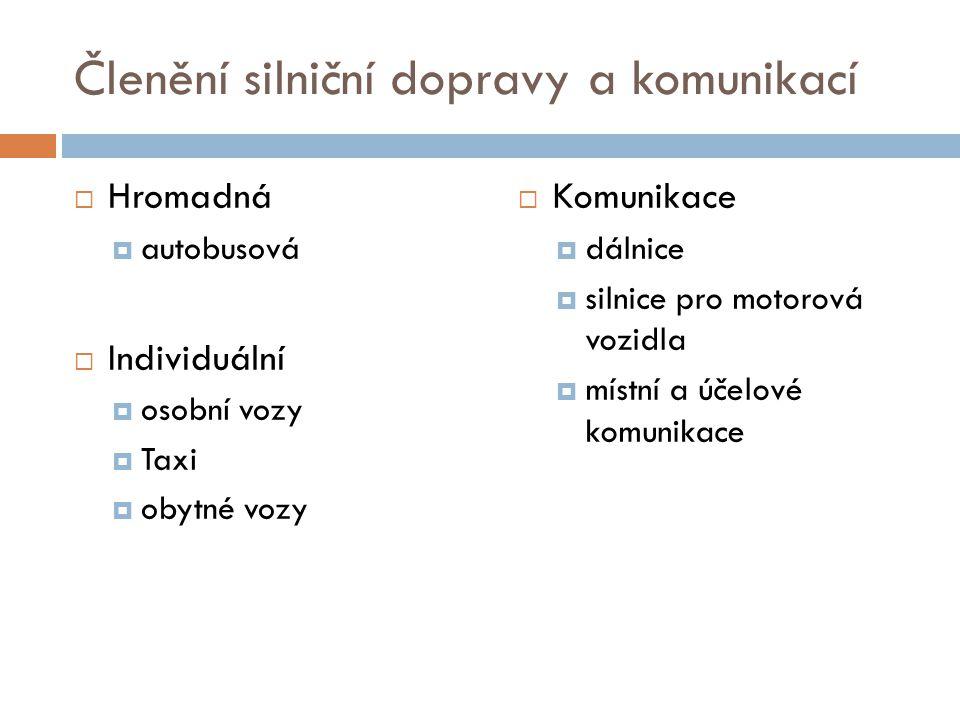 Členění silniční dopravy a komunikací