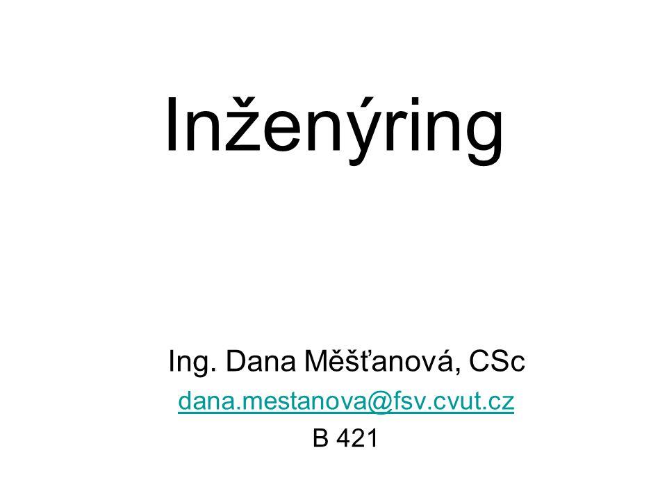 Ing. Dana Měšťanová, CSc dana.mestanova@fsv.cvut.cz B 421
