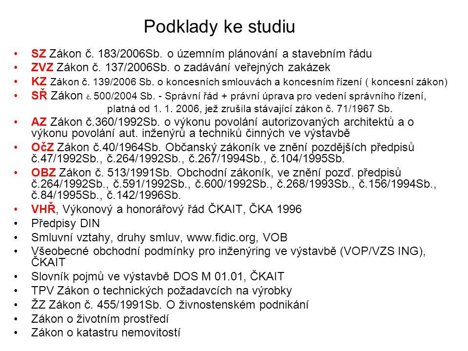 Podklady ke studiu SZ Zákon č. 183/2006Sb. o územním plánování a stavebním řádu. ZVZ Zákon č. 137/2006Sb. o zadávání veřejných zakázek.