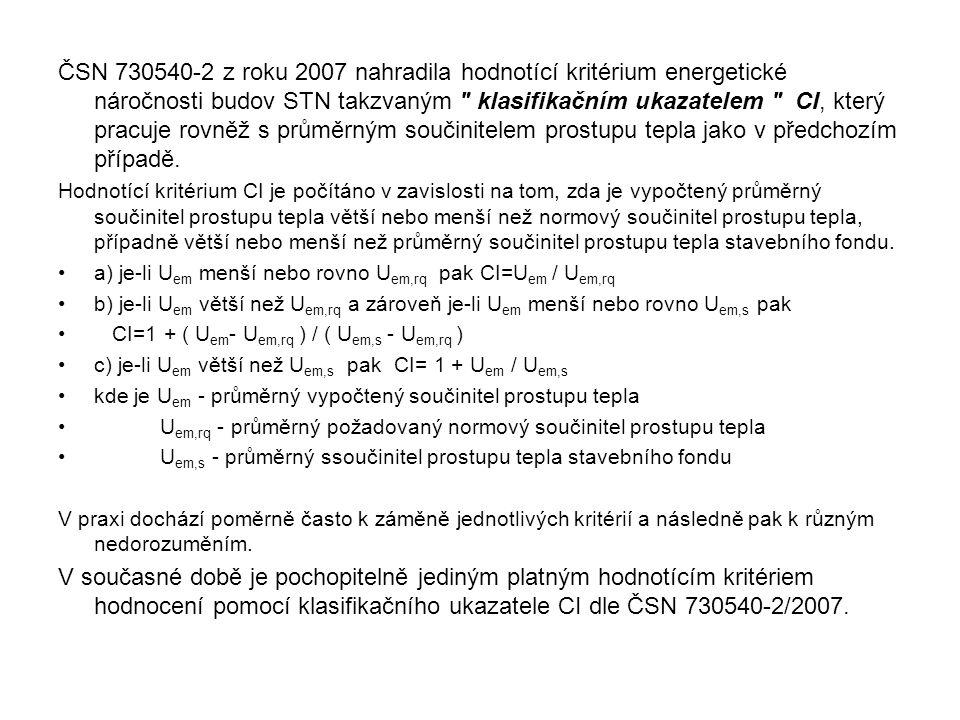ČSN 730540-2 z roku 2007 nahradila hodnotící kritérium energetické náročnosti budov STN takzvaným klasifikačním ukazatelem CI, který pracuje rovněž s průměrným součinitelem prostupu tepla jako v předchozím případě.