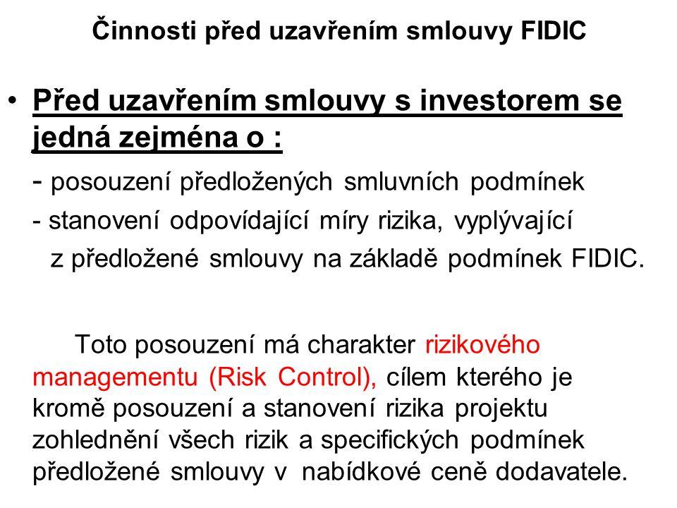 Činnosti před uzavřením smlouvy FIDIC