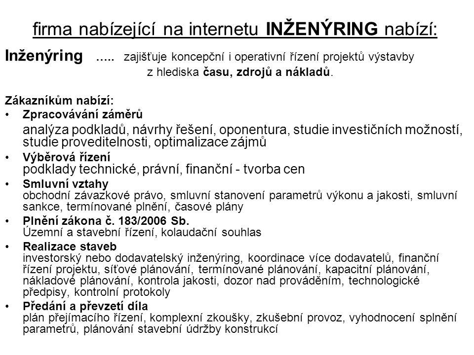 firma nabízející na internetu INŽENÝRING nabízí: