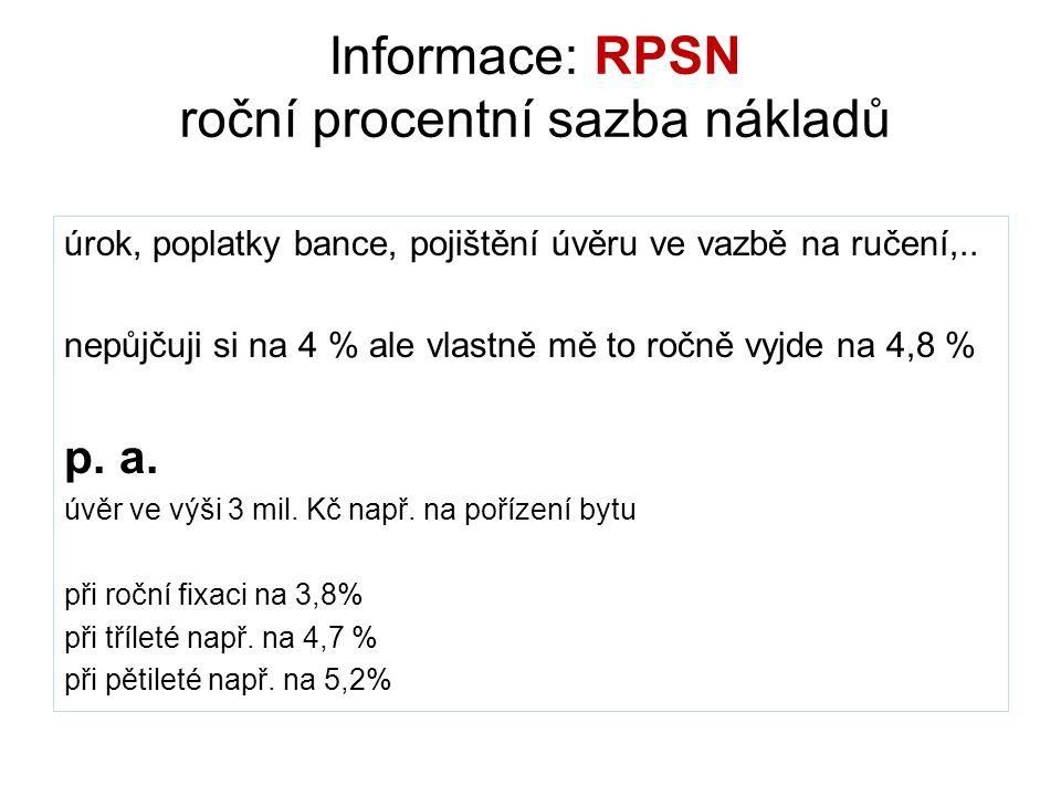 Informace: RPSN roční procentní sazba nákladů