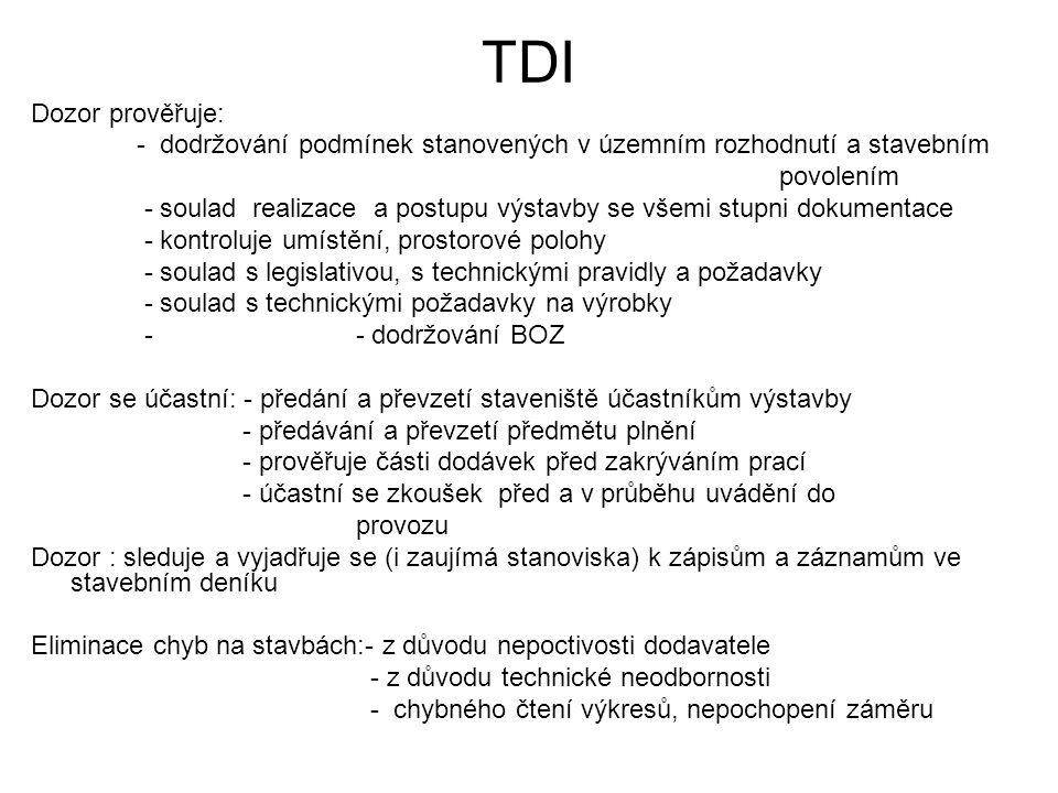 TDI Dozor prověřuje: - dodržování podmínek stanovených v územním rozhodnutí a stavebním. povolením.