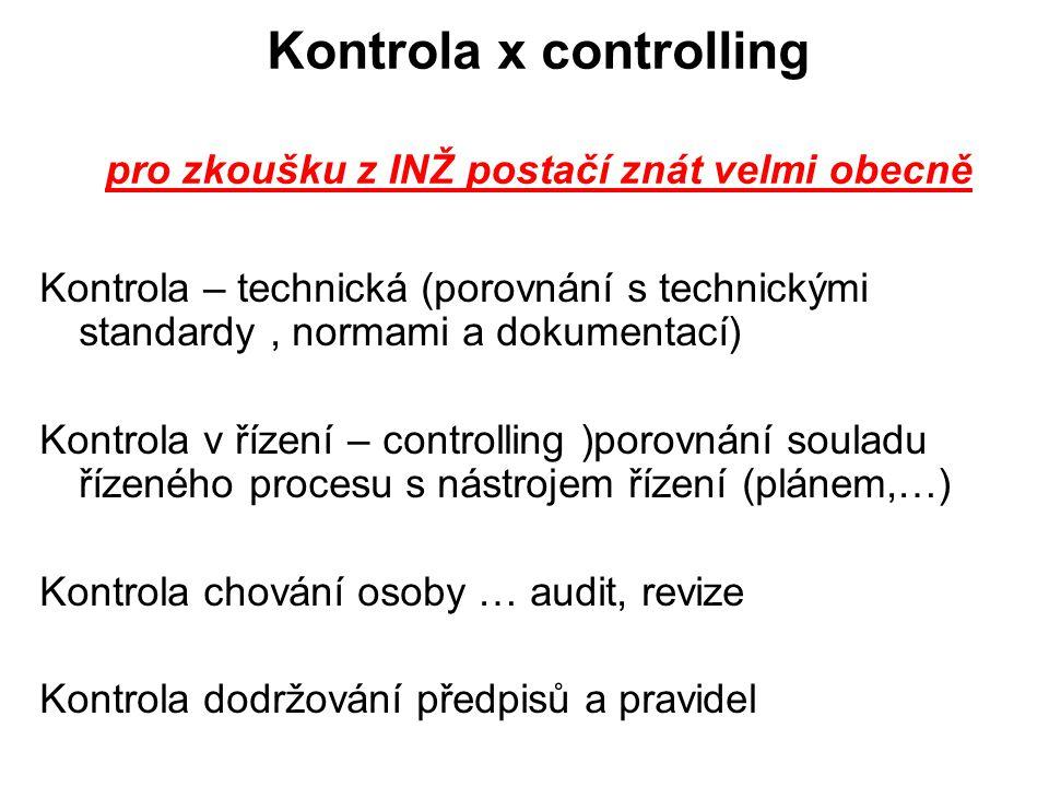 Kontrola x controlling pro zkoušku z INŽ postačí znát velmi obecně