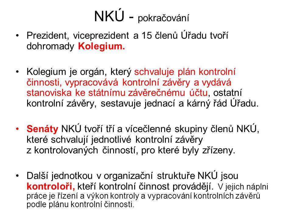 NKÚ - pokračování Prezident, viceprezident a 15 členů Úřadu tvoří dohromady Kolegium.