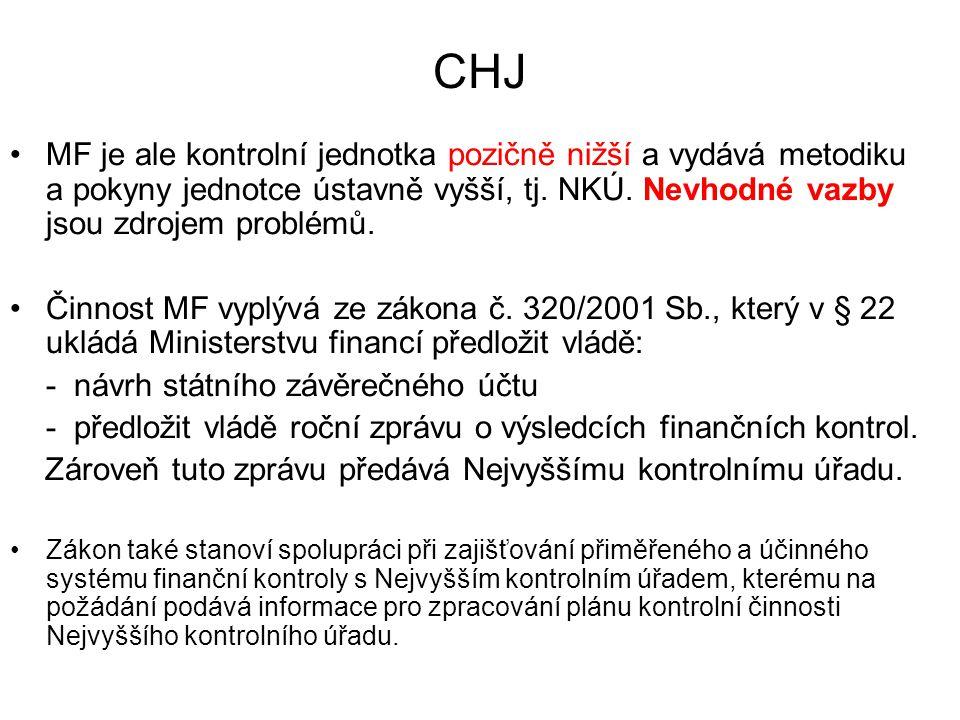 CHJ MF je ale kontrolní jednotka pozičně nižší a vydává metodiku a pokyny jednotce ústavně vyšší, tj. NKÚ. Nevhodné vazby jsou zdrojem problémů.