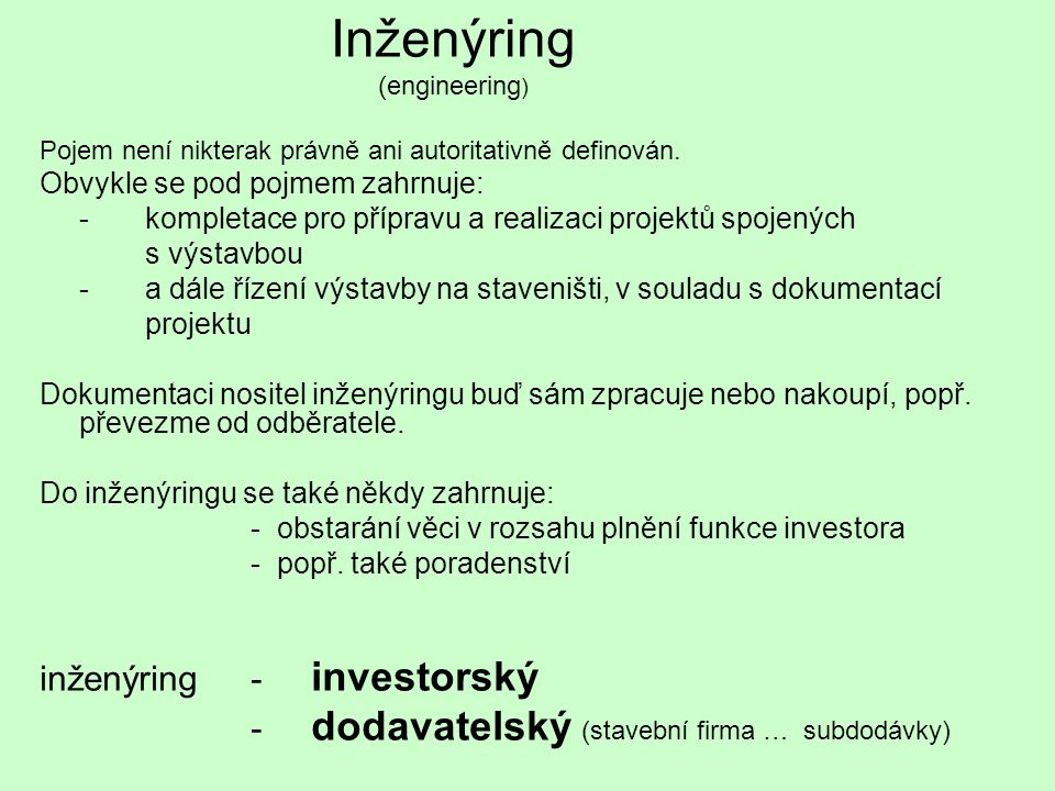 Inženýring (engineering)