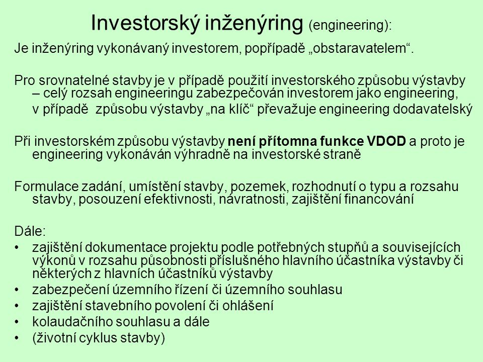 Investorský inženýring (engineering):
