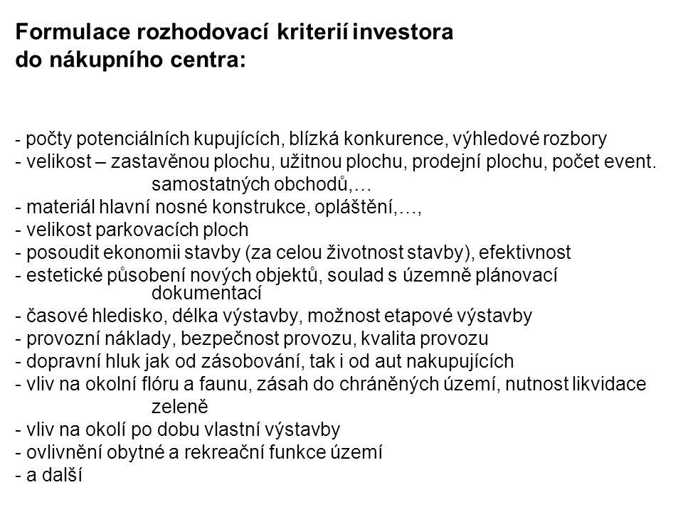 Formulace rozhodovací kriterií investora do nákupního centra: