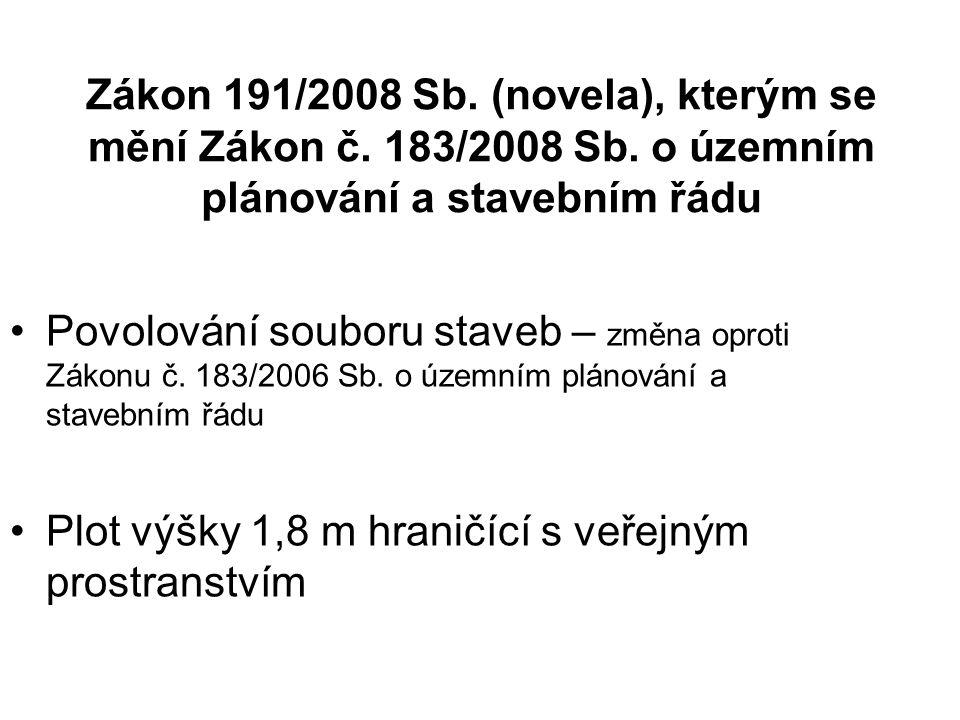 Zákon 191/2008 Sb. (novela), kterým se mění Zákon č. 183/2008 Sb