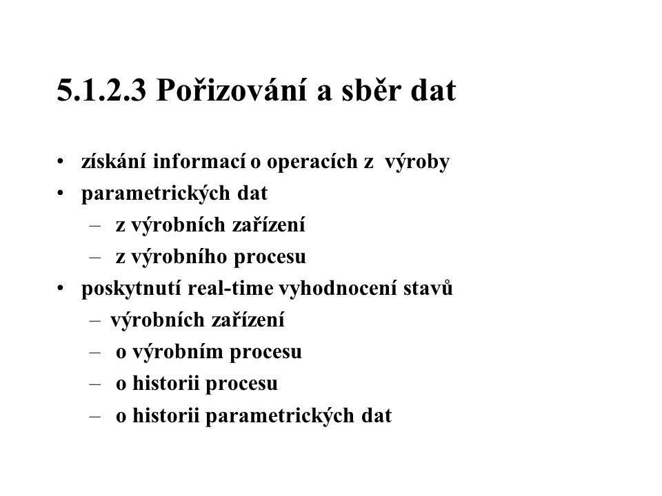 5.1.2.3 Pořizování a sběr dat získání informací o operacích z výroby