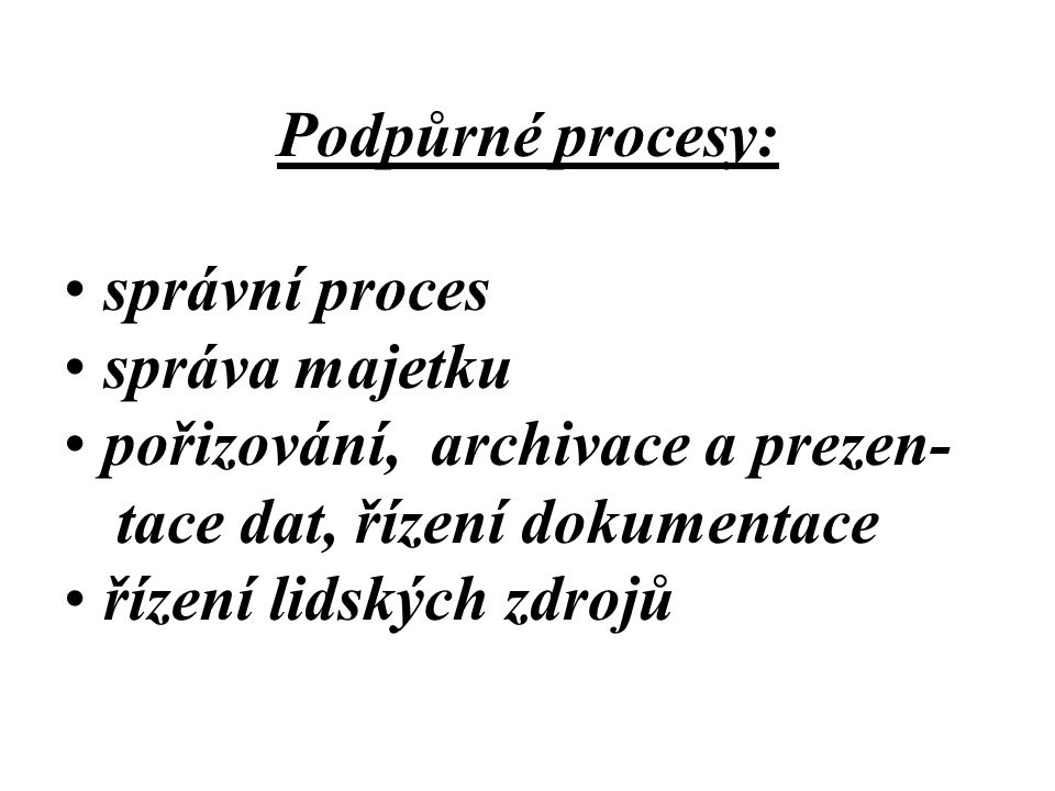 Podpůrné procesy: správní proces. správa majetku. pořizování, archivace a prezen- tace dat, řízení dokumentace.