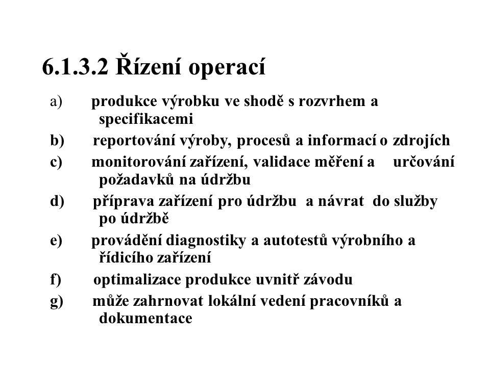 6.1.3.2 Řízení operací a) produkce výrobku ve shodě s rozvrhem a specifikacemi. b) reportování výroby, procesů a informací o zdrojích.
