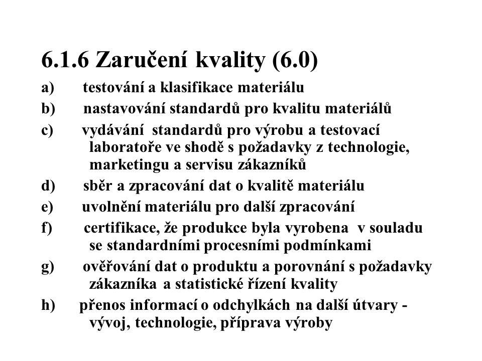6.1.6 Zaručení kvality (6.0) a) testování a klasifikace materiálu
