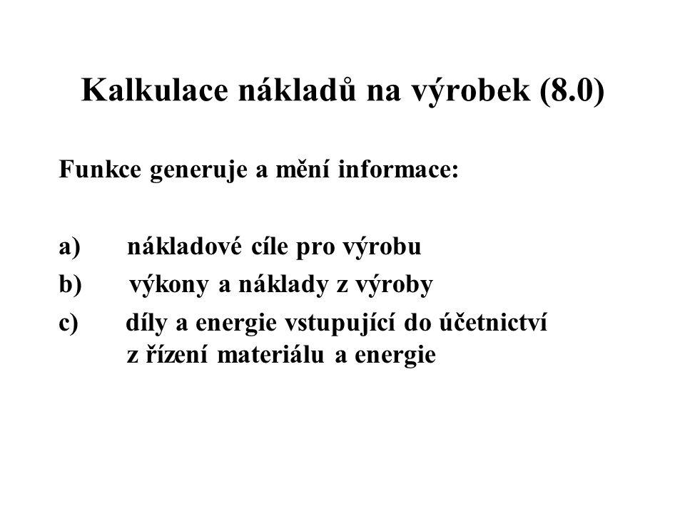 Kalkulace nákladů na výrobek (8.0)