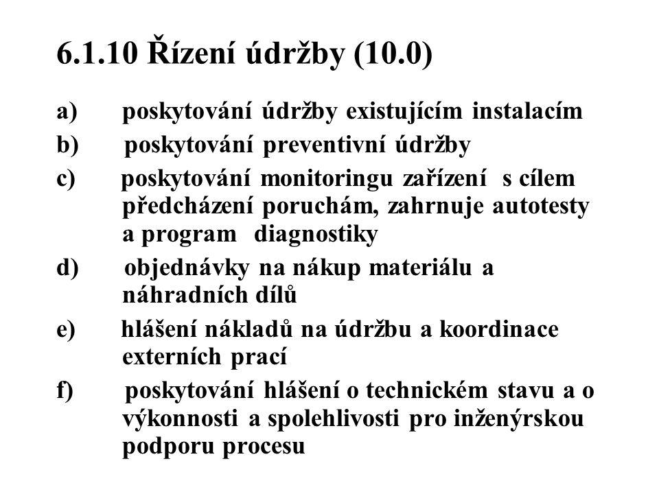 6.1.10 Řízení údržby (10.0) a) poskytování údržby existujícím instalacím. b) poskytování preventivní údržby.