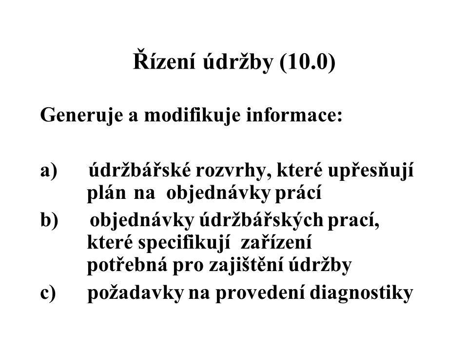 Řízení údržby (10.0) Generuje a modifikuje informace:
