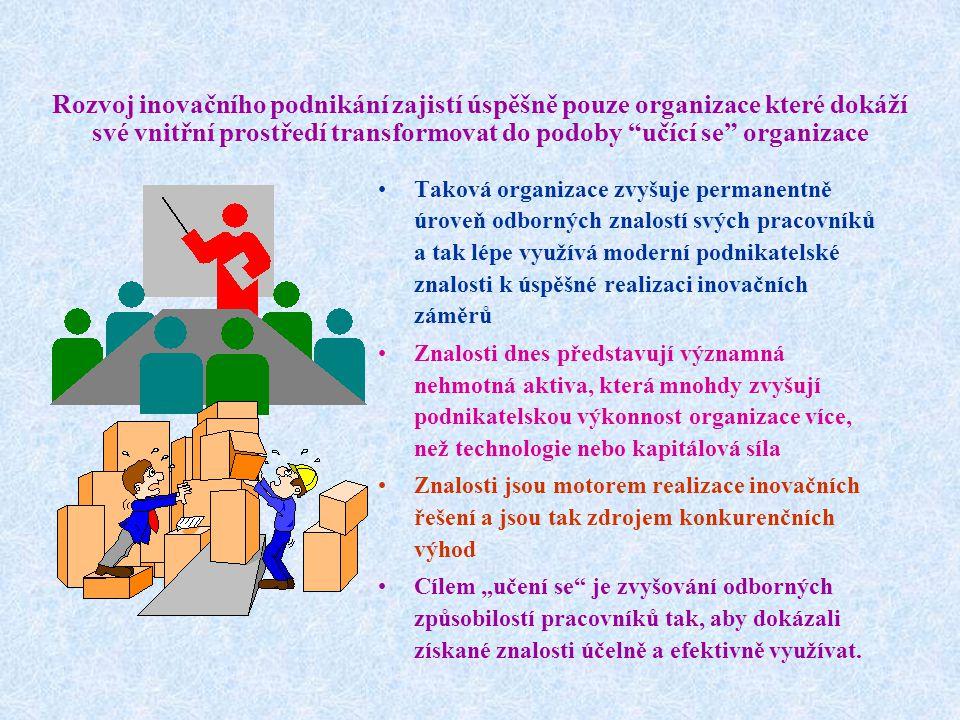 Rozvoj inovačního podnikání zajistí úspěšně pouze organizace které dokáží své vnitřní prostředí transformovat do podoby učící se organizace