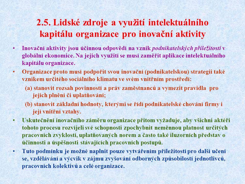 2.5. Lidské zdroje a využití intelektuálního kapitálu organizace pro inovační aktivity