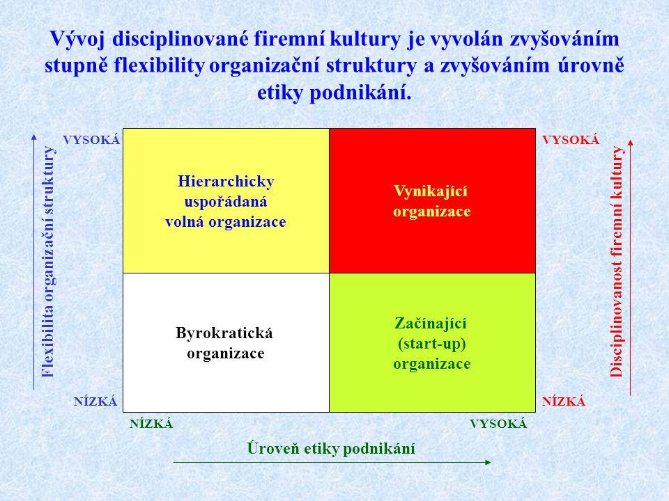 Vývoj disciplinované firemní kultury je vyvolán zvyšováním stupně flexibility organizační struktury a zvyšováním úrovně etiky podnikání.