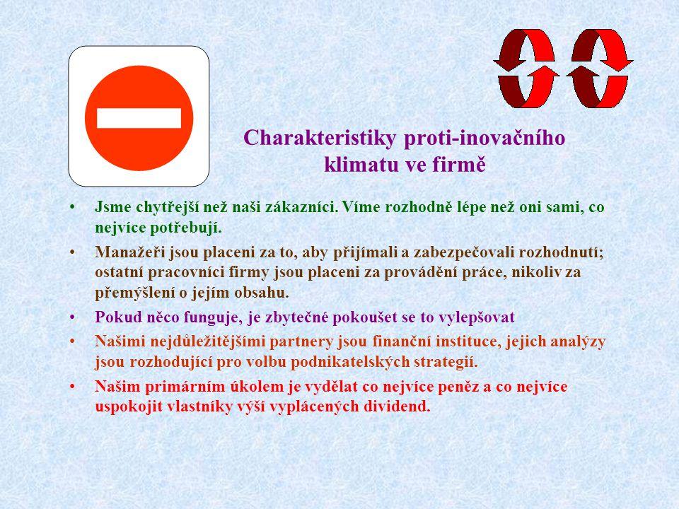 Charakteristiky proti-inovačního klimatu ve firmě