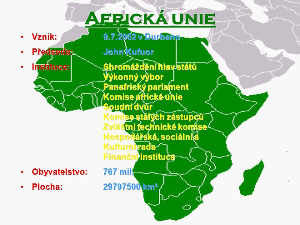 Africká unie Vznik: Předseda: Instituce: Obyvatelstvo: Plocha: