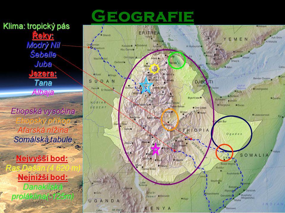 Geografie Klima: tropický pás Řeky: Modrý Nil Šebelle Juba Jezera: