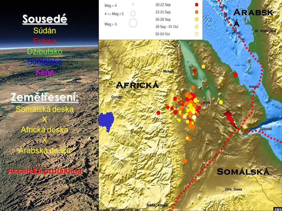 Sousedé Zemětřesení: Arabská Africká Somálská Súdán Eritrea Džibutsko
