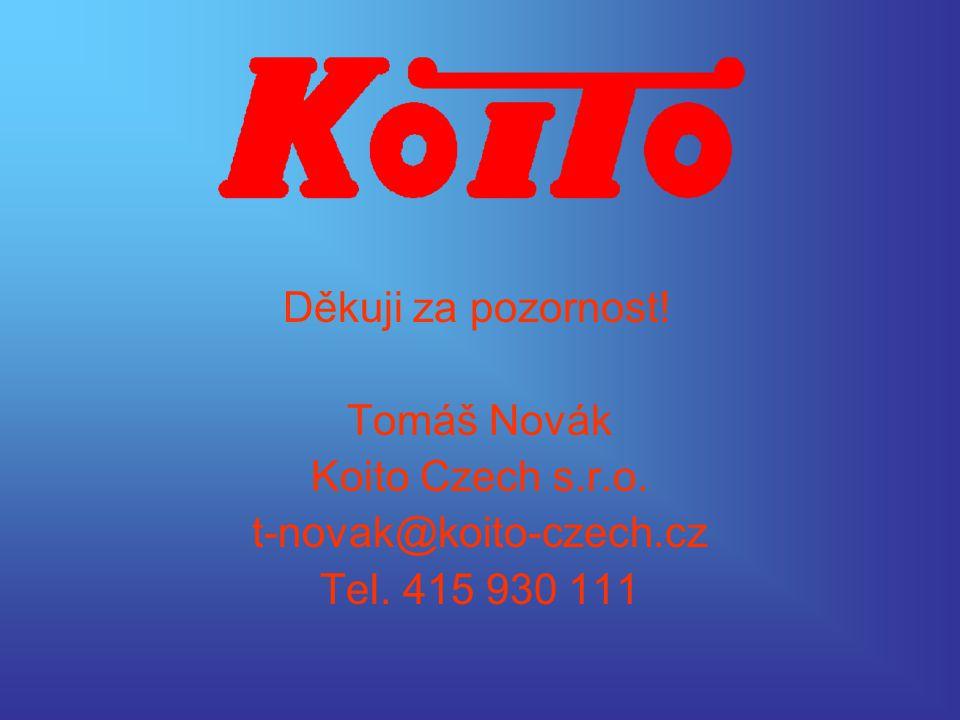 Děkuji za pozornost! Tomáš Novák Koito Czech s.r.o. t-novak@koito-czech.cz Tel. 415 930 111