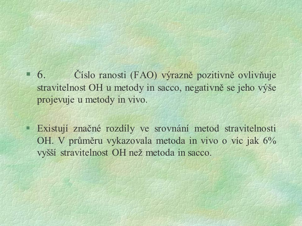 6. Číslo ranosti (FAO) výrazně pozitivně ovlivňuje stravitelnost OH u metody in sacco, negativně se jeho výše projevuje u metody in vivo.