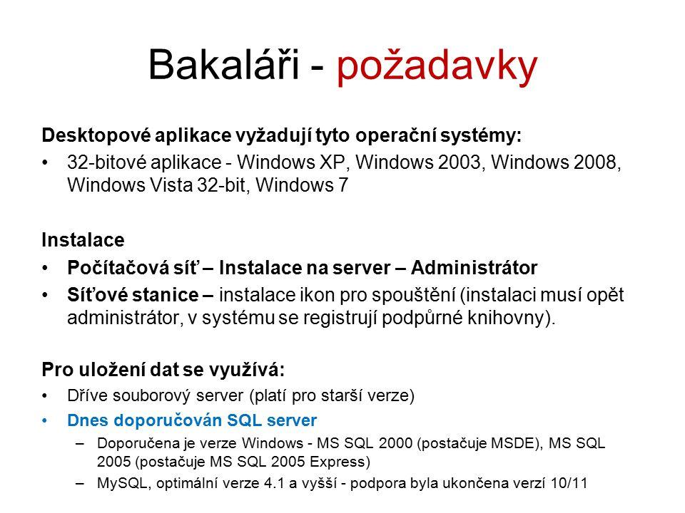 Bakaláři - požadavky Desktopové aplikace vyžadují tyto operační systémy:
