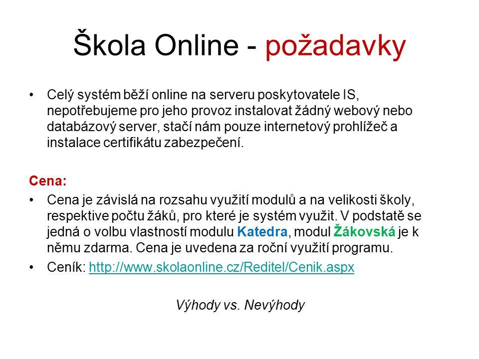 Škola Online - požadavky