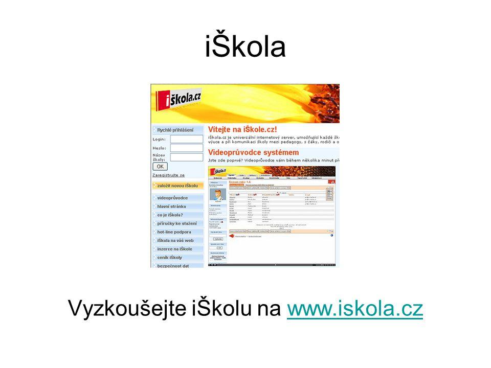 Vyzkoušejte iŠkolu na www.iskola.cz