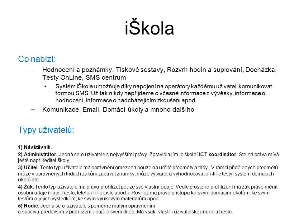 iŠkola Co nabízí: Typy uživatelů: